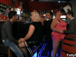 Crazy plump chicks have fun in the bbw bar