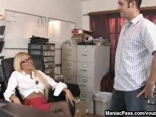 Office blonde giving a handjob