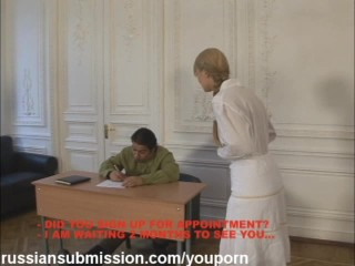 Russian blonde wife has to submit to the wild demands of a horny officer