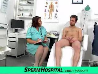 Fat big tits lady Eva cfnm jerking off at hospital