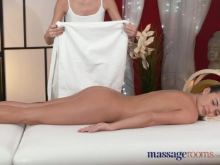 Massage Rooms Beautiful oiled lesbians finger fuck and enjoy intense orgasms