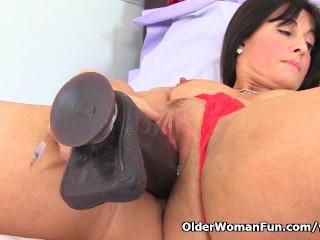 British sexy milf Lelani enjoys her full grown ebony girl dildos
