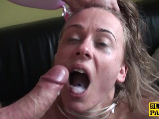 British 18yo guzzles maledoms cum on her bday