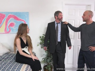 Samantha Hayes Shares a Cock With Husband and Makes Him Eat Cum