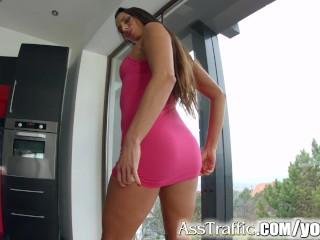 Asstraffic stunning babe gets her ass fucked hard