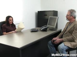 Horny MILF Boss Seduces Her New Employee!