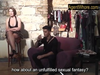 Chubby MILF plays with stranger for the first time