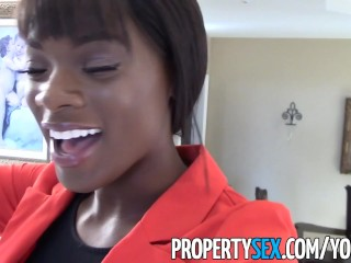 PropertySex - Truly stunning black real estate agent orgasmic sex with client