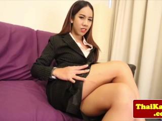 Closeup asian ladyboy masturbating and posing