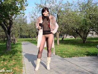 Jeny Smith see through pantyhose suit flashing