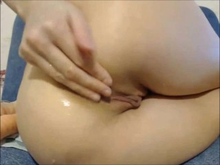 Rough anal fisting and dildo fuck