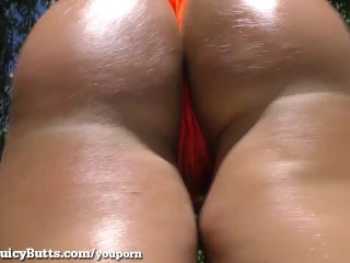 Big Booty Blonde Twerks With Cum On Her Ass!