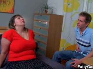 Fat whore gets banged in doggy style