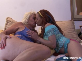 MILF gets fucked by a blonde mature