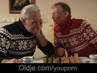 Two pensionery grandpas drill DP their internal nurse
