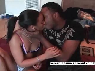 Amateur ebony couple having good time for hard sex