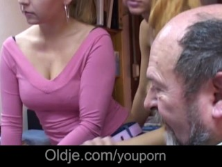 Easy blondes suck old man tongue and lick his hairy ass