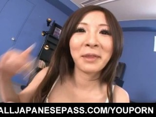 Ayami rubs penis with her big jugs and rides it with shaved cunt
