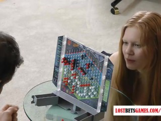 1 guy with 4 cute girls play a game of strip battleship