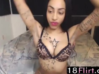 Booty black princess Charlie with hot tattooed body performs – 18flirt.com