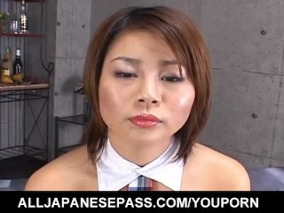 Haruka Aizawa in fishnets has hairy twat licked and drilled
