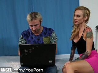 Slutty Stepmom 3way with Son and Stripper
