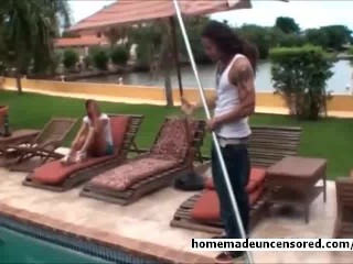 Beautiful babe fucked by the pool