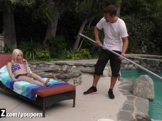 WANKZ - Skinny Teen Gets Railed By The Pool Guy!