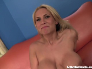 Hot Blonde Titty Fucks A Big Black Dick!
