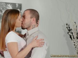 DaneJones Horny brunette stunner gets a hot load all over her massive tits