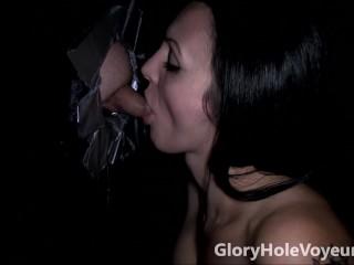 Hot Brunette Sucks Small Cock in Gloryhole