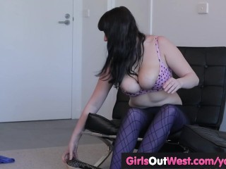 Busty lesbian plumper gets her hairy cunt licked