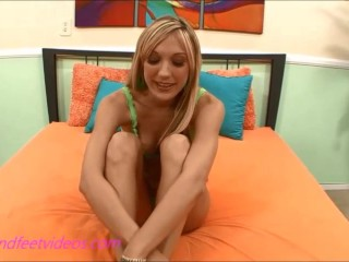 Bubble Butt Long hair blond teen gives footjob and gets cum on feet