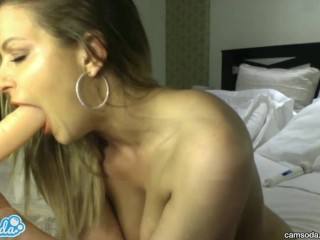 blonde with huge tits and big ass sucking and fucking huge dildo on private cam