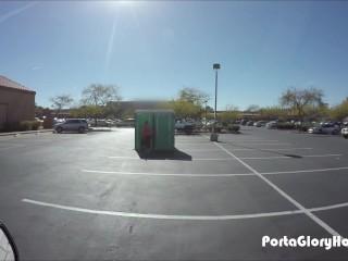 Porta Gloryhole BBW swallows cum in gym parking lot