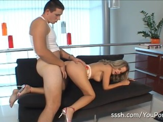 Goregous blonde fucked doggy style and takes huge load over her tits