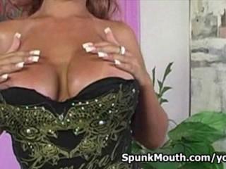 Giant boob porn slut Bridgette B titty fucks huge cock for cum in mouth