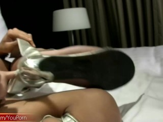 Skinny Asian TS with long hair is tugging cock till orgasm