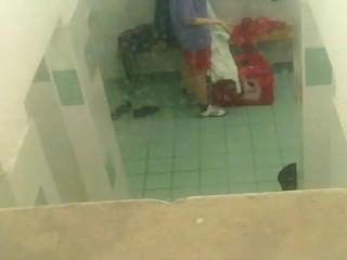 Peeping on naked girls in the locker room
