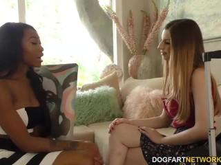 Interracial Lesbian Action with Stella Cox and Nadia Jay