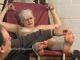 Kinky blondes foot fetish and spanking of crying slave girl Chaos in falaka and nipple clamped tit torments