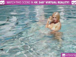 VR Bangers - Alix Lynx and Nadia Jay SUCK and RIDE WHITE COCK by the pool