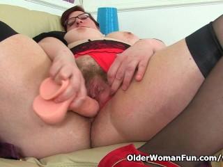 UK's hottest BBW horny milf Jayne Storm slides a sex toy in