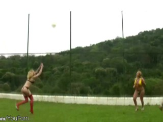 Fun loving t-girls are anal fucking on blanket outdoors