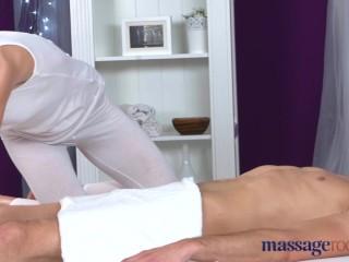 Massage Rooms Athletic brunette sucks big dick before orgasmic fuck
