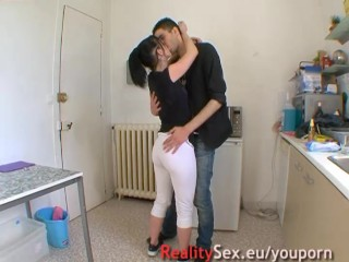 In her kitchen she gets fucked by a stranger!!