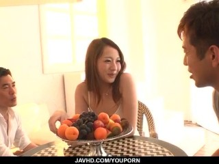 Reon Otowa uses her tight pussy and mouth on two cocks