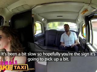 FemaleFakeTaxi Sexy Cabbie in stunning red dress fucks her passenger on backseat