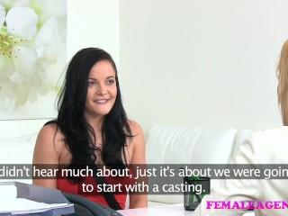 FemaleAgent Sexy minx tastes her first pussy
