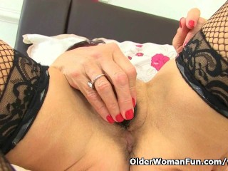 British horny mom Georgie bangs her hairy beaver with a fuck toy